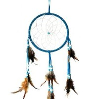 """Blue Dream Catcher Traditonal Native American Dreamcatcher with Feathers 6.1"""" Diameter 18"""" Long Wall Hanging Ornament"""