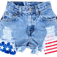 American Flag High Waisted Denim Shorts
