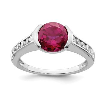 925 Sterling Silver Rhodium-plated Synthetic Ruby and Cubic Zirconia Bezel Ring