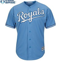 Lorenzo Cain Kansas City Royals #6 MLB Men's Cool Base Alternate Jersey Blue (Large)