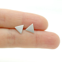 Sterling Silver Triangle Earrings - Minimalist Geometric Stud Earrings - Minimal Modern Jewellery - Simple Everyday Jewelry