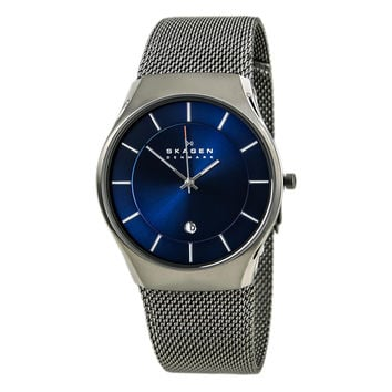 Skagen 956XLTTN Men's Quartz Blue Sunray Dial Titanium Mesh Bracelet Watch