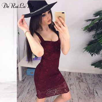 DeRuiLaDy 2018 Women Sexy Off Shoulder Lace Dress Sleeveless Sling Party Bodycon Dresses Casual Black Summer Dress vestidos