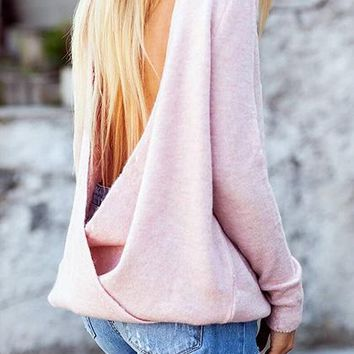 Pink Open Back Long Sleeve Chic Women Knit Sweater