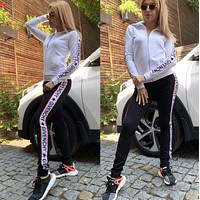 GIVENCHY New Popular Women Casual Round Collar Top Pants Set Two-Piece