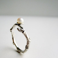 Pearl Twig Silver Ring with White Pearl MADE TO by EveryBearJewel