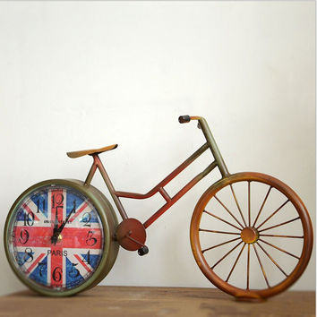 Vintage Weathered Iron Bicyclex England Style Home Accessory Pastoral Style Creative Clock [6282893126]