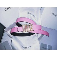 DIOR Fashionable Women Delicate Diamond Buckle Pink Leather Belt