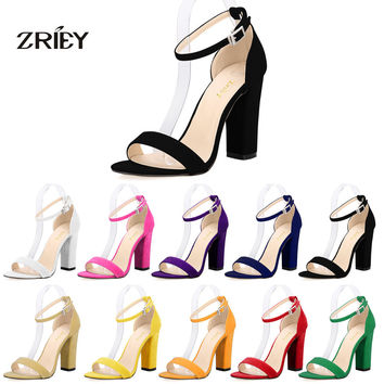 Newest Women Pumps Open Toe Sexy Ankle Straps Sandals High Heels Summer Ladies Bridal Suede Thick Heel Pumps