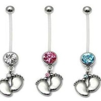 ac DCCKO2Q Fashion Surgical Steel Women Pregnant Belly Button Rings Navels Dangle In Baby Feets Piercings Body Jewelry