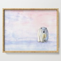 Polar bear in the icy dawn Serving Tray by savousepate