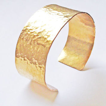Hammered Brass Cuff Bracelet, Hand Forged
