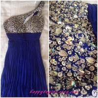 One shoulder beaded short blue backless prom dress 2014/ short bridesmaid dress/ cocktail dress/ evening gown/ prom gown