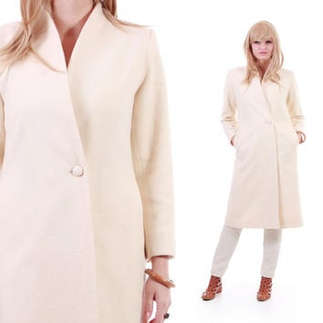 Ivory Wool Coat Long Minimalist Chic Winter Outerwear 80s 90s Vintage Clothing Made in the USA Womens Size Small