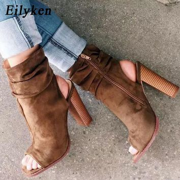 Eilyken 2018 New Spring/Autumn Rome Boots Sandals Square Heel 10cm Women's Zipper Ankle Strap Heels Peep Toe Boots size 35-40