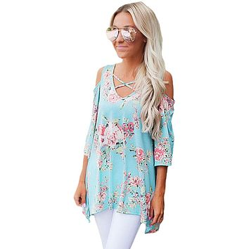 Light Blue Floral Print Three Quarter Sleeve Drop Shoulder Blouse