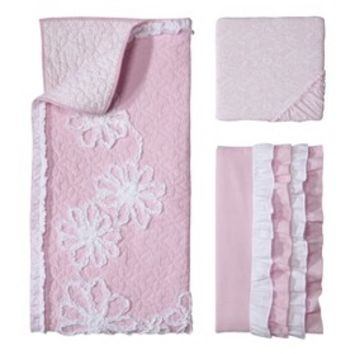 Castle Hill Pink Ruche 3pc Crib Bedding Set
