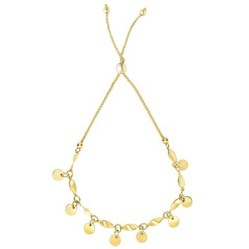 Multi Strand Round Disc Bolo Friendship Adjustable Bracelet In 14K Yellow Gold, 9.25""