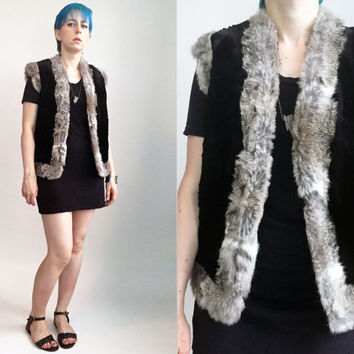 70s Fur Vest Black With Wool Houndstooth Lining And Contrast Grey Fur Trimming Unisex Womens Size Medium Mens Size Small