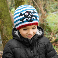 KNITTING PATTERN – Striped Skull Beanie (Babay, Toddler, Child sizes)  – Instant Download Hat Knitting Pattern