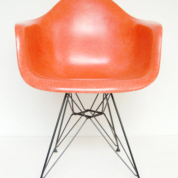 Vintage Eames for Herman Miller Salmon Orange DAR Eiffel Armshell Dining Chair *Rare, All Original*