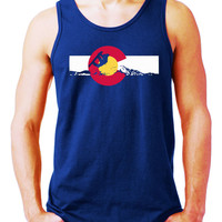Colorado Flag Mountains SNOWBOARDING  Mens Tank Top Snowboard