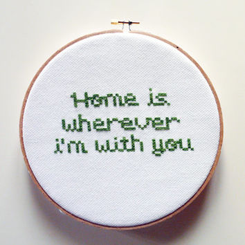 Home is wherever i'm with you - Cross Stitch embroidery pattern, Cross Stitch Pattern, Embroidery Hoop, Embroidery Art PDF- Instant Download