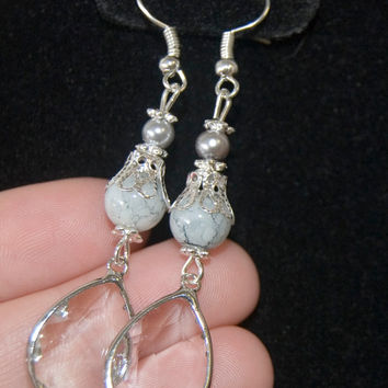 Handmade Silver Plated Hypo-Allergenic White Silver with Clear Pendants Dangle Earrings