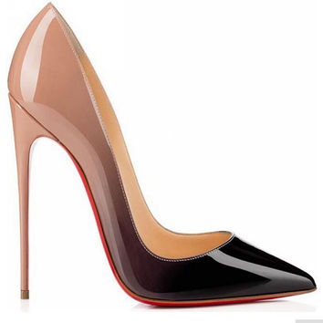 2016 brand  high heels patent leather women pumps pointed toe sexy ladies stiletto shoes woman plus size 35-43