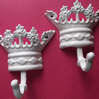 Cast Iron Princess Crown Wall Hanger/ Wall Decor - Set of Two-