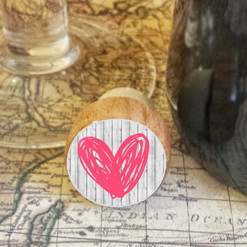 Wine Stopper, Pink Handrawn Heart Handmade Wood Cork, Heart Bottle Stopper, I Love You Gift, Wood Top Cork Stopper, Valentine's Day Gift