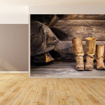 Country Themed with Cowboy Boots Custom Designed Wallpaper Peel and Stick