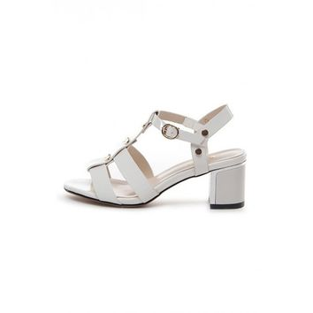 LUCLUC White Studded T Strap Sandals