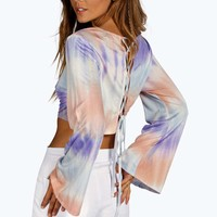 Milly Lace Up Back Tie Dye Jersey Top