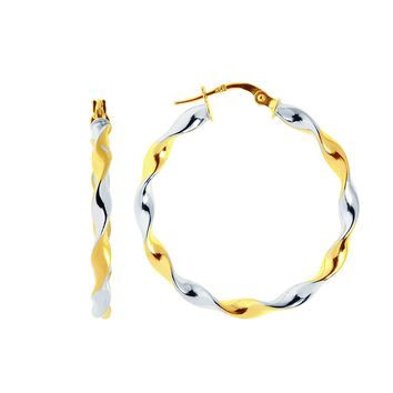 IcedTime Aleksa Ladies 14K Two-Tone White & Yellow Gold Large Round or Oval Twisted Hinched Hoop Earrings