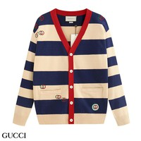 GUCCI hot seller of stylish casual couplewear embroidered striped knit cotton sweaters