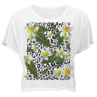 Tropical Floral Leopard: Custom Bella Flowy Boxy Lightweight Crop Top T-Shirt - Customized Girl