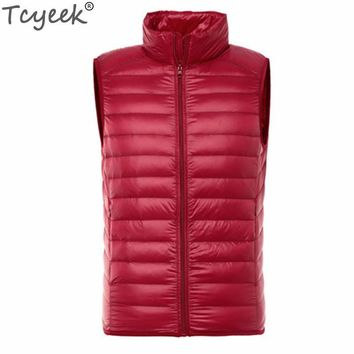 Tcyeek Sleeveless Jacket Men's Vest Winter Waistcoat For Men White Duck Down Ultralight Jackets Colete Masculino Inverno CJ268