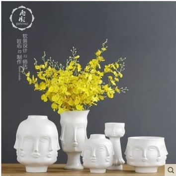 white Nordic ceramic creative people face vase pot home decor crafts room decoration object porcelain Vintage Art flowers vases