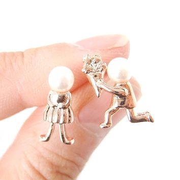 Boy Proposing to Girl Shaped Stud Earrings in Rose Gold with Pearls | DOTOLY