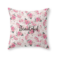 Society6 Elegant Pink Vin Throw Pillow