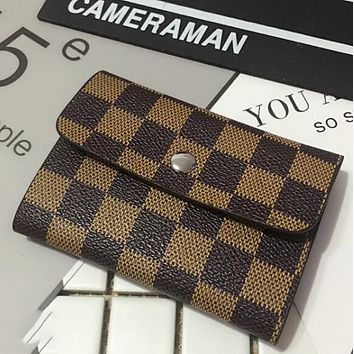 LV Louis Vuitton Popular Women Men Simple Leather Monogram Canvas Multiple Bank Card Pack Certificate Holster Card Set Credit Card Holder Card Package Coffee Tartan I12550-1
