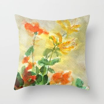 orange and yellow flowers  Throw Pillow by Color And Color