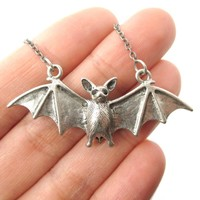 Realistic Bat Shaped Animal Pendant Necklace in Silver | Animal Jewelry