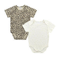 Kardashian Kids Girls 2 Pack Leopard Print and Star Print Picot Trim Short Sleeve Lap Shoulder Bodysuits