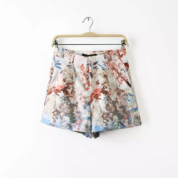Women's Fashion Pastoral Style Print Slim Pants Shorts [4917834436]