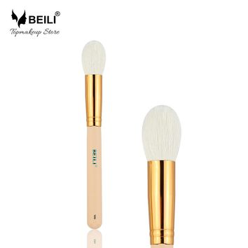 BEILI 105# Rose Golden Ferrule Pink Handle Natural Goat Hair Cosmetic Blusher Powder Highlighter Makeup Brushes