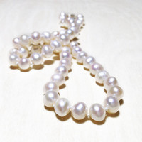 """Hand Strung 18"""" Oval Freshwater Cultured Pearl Necklace - Wedding Jewelry - Mother of the Bride Gift, Gift for Her"""