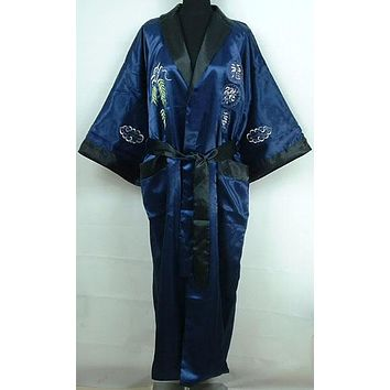 Reversible Navy Blue Black Male Silk Rayon Sleepwear Embroidery Dragon Chinese Style Men Robe Kimono Gown One Size MR096