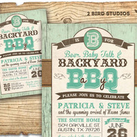 Rustic baby shower invitation- barbecue baby shower / baby q baby shower invitation - Western BBQ- DIY printable invitation